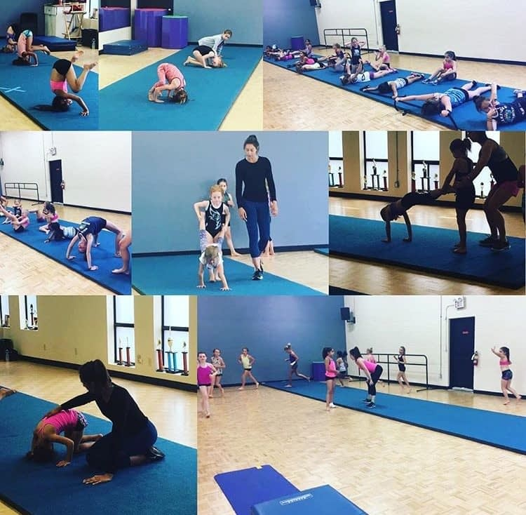 collage of young dance students at an Acro workshop in Milton dance studio